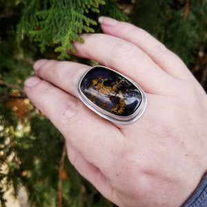 Size 7 Purple Moss Agate Statement Ring, Sterling Silver Purple Agate Ring