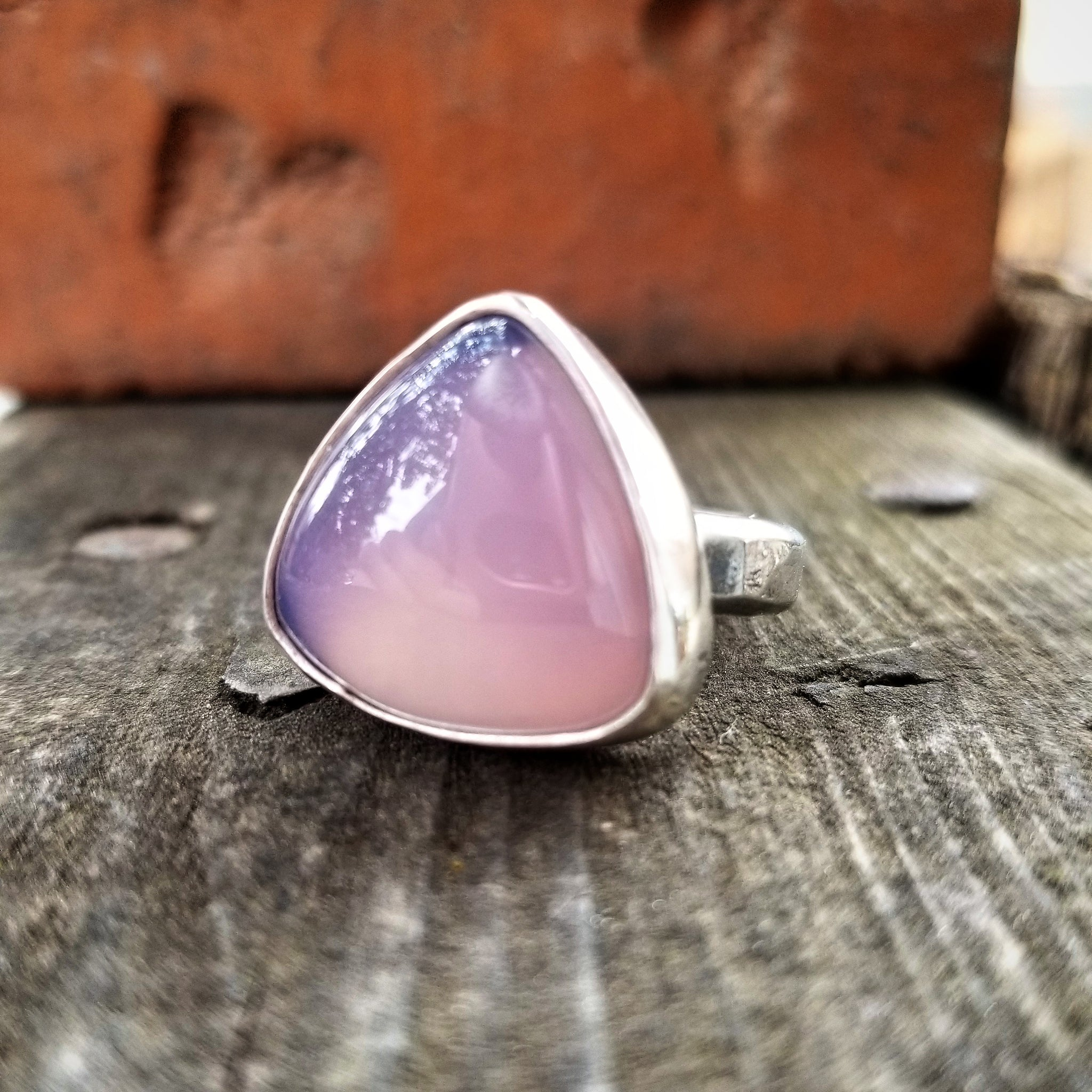 Size 8.25 Purple Chalcedony Triangle Statement Ring