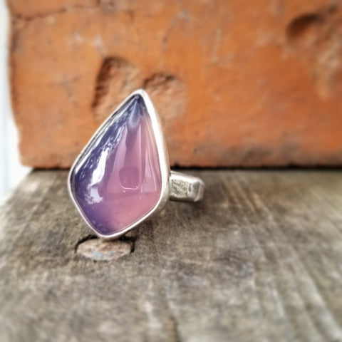 Size 8.75 Purple Chalcedony Statement Ring