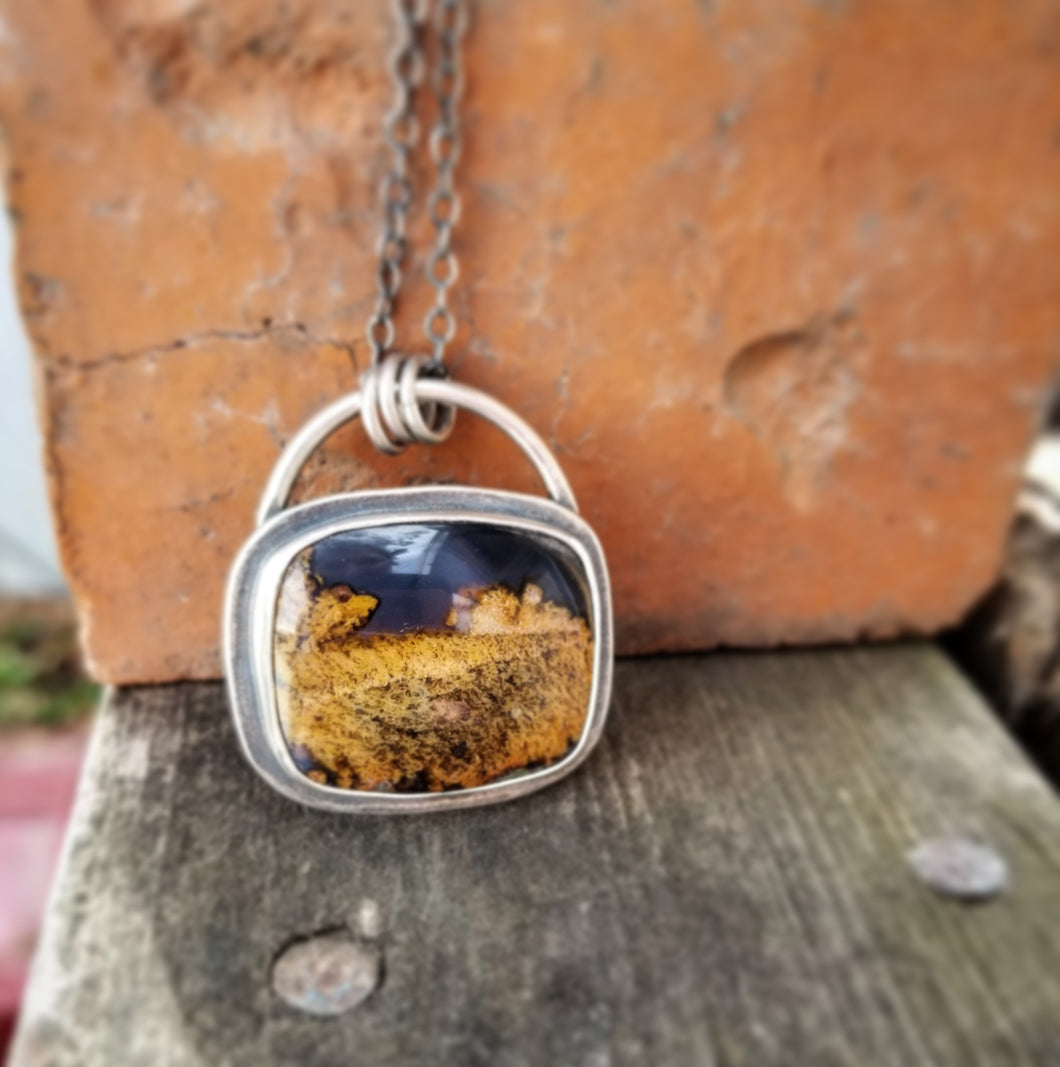 Purple Posie Moss Agate Square Necklace