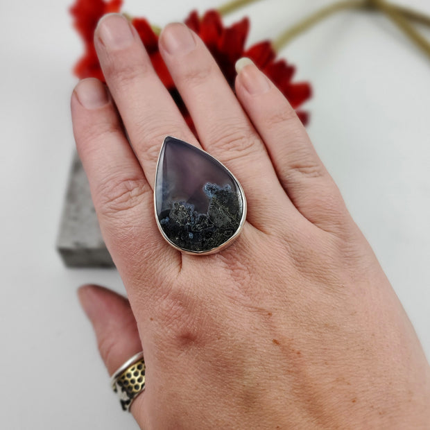 Purple Plume Agate Ring Size 9 - WOOD BISON METAL