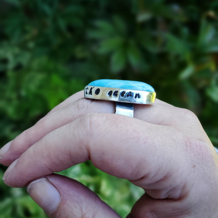 As Free As The Ocean Larimar Ring, Size 9 - WOOD BISON METAL