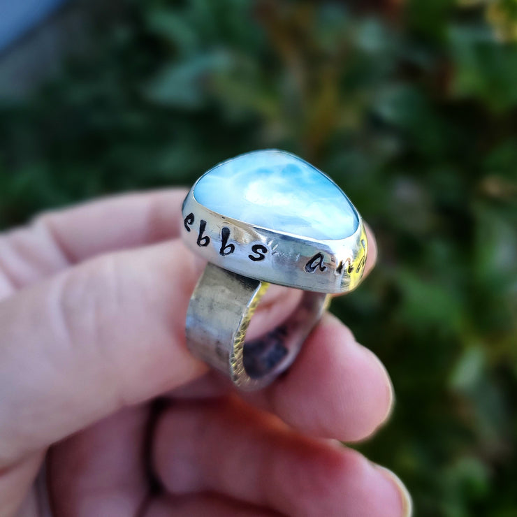 Ebbs and Flows Larimar Ring Size 8.5 - WOOD BISON METAL