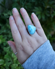 Larimar Stamped Bezel Ring Size 7.25 - WOOD BISON METAL