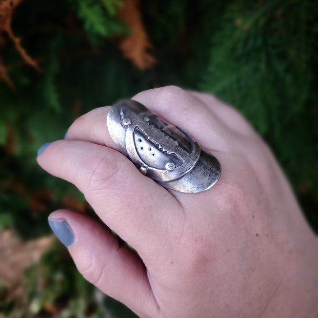 Warrior Ring Moon and Tree Size 10 - WOOD BISON METAL
