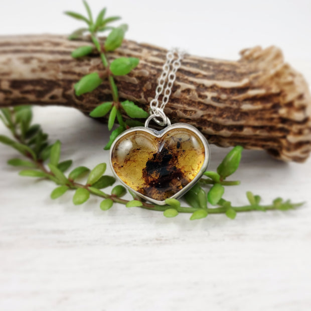 Amber Heart Necklace - WOOD BISON METAL