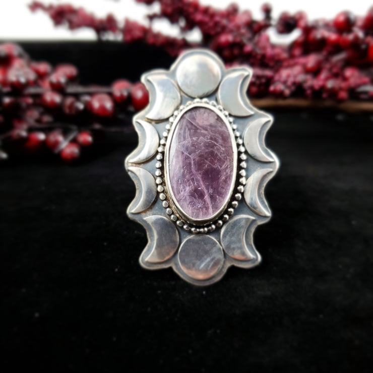 Lepidolite Moon Crescents Ring - WOOD BISON METAL