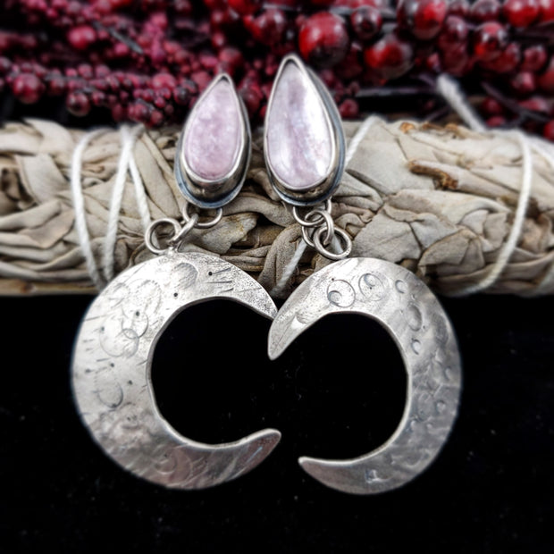 Lepidolite Moon Crescent Earrings - small - WOOD BISON METAL