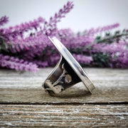 Floral Aura Flowery Band Ring #1 - WOOD BISON METAL