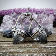 Protector Dagger Pendant - Amethyst and Apopolite - WOOD BISON METAL