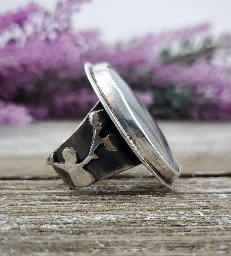 Floral Aura Flowery Band Ring #3 - WOOD BISON METAL