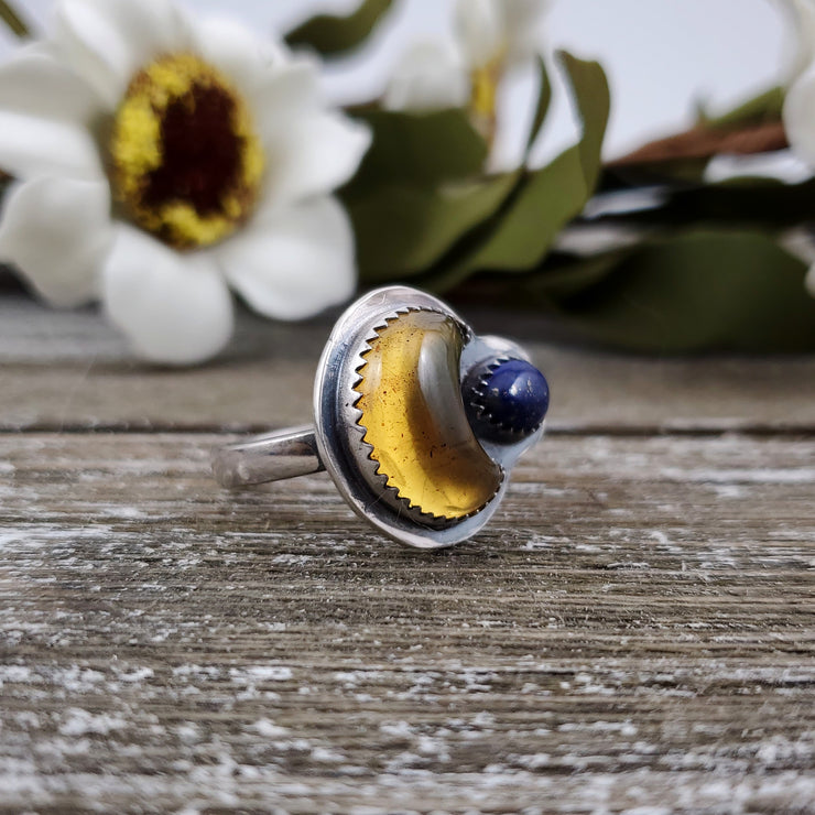Crescent Moon Amber & Lapis Ring Size 8.25 - WOOD BISON METAL