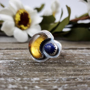 Crescent Moon Amber & Lapis Ring Size 8.25