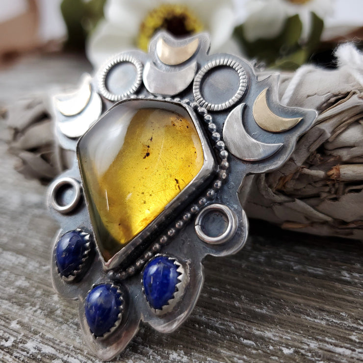 Crescent Moon Amber and Lapis Necklace - WOOD BISON METAL