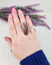 Moroccan Seam Agate Ring Size 7.5 - WOOD BISON METAL