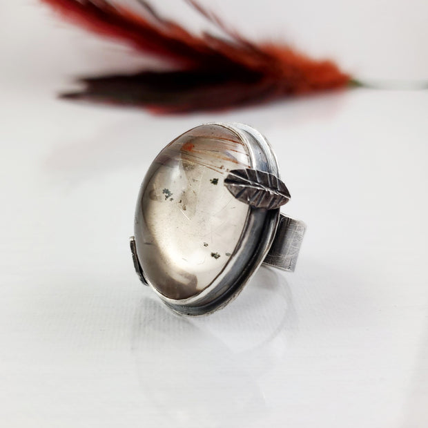 Rutilated Quartz Woodlands Ring Size 5.5 - WOOD BISON METAL