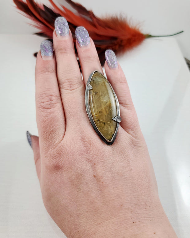 Gold Rutilated Quartz Woodlands Ring Size 8.5 - WOOD BISON METAL