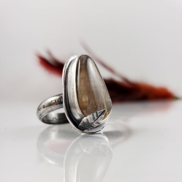 Golden Rutilated Quartz Woodlands Ring Size 9.25 - WOOD BISON METAL