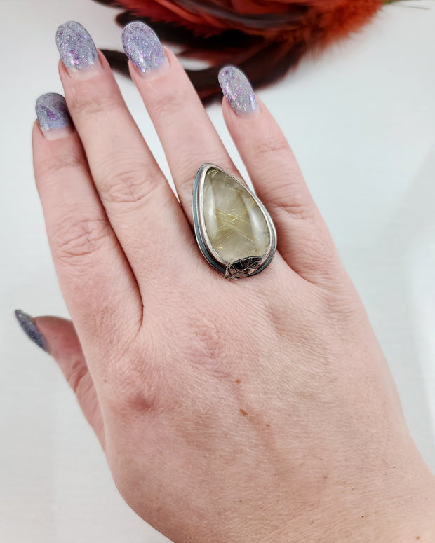 Golden Rutile Quartz Woodlands Ring Size 7.5 - WOOD BISON METAL
