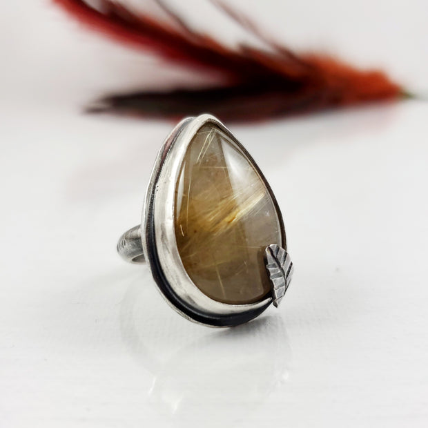 Golden Rutile Quartz Leaf Prong Ring Size 7.25 - WOOD BISON METAL