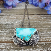 Royston Turquoise Leaf Statement Necklace - WOOD BISON METAL