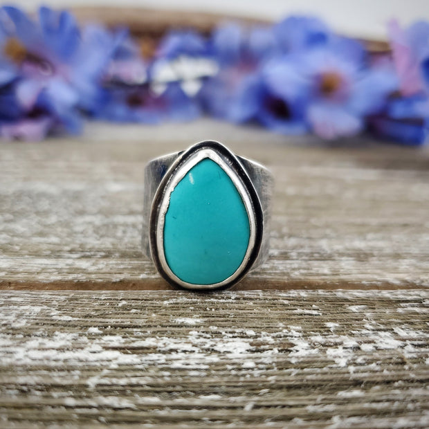 Sleeping Beauty Turquoise Ring Size 8.5 - WOOD BISON METAL