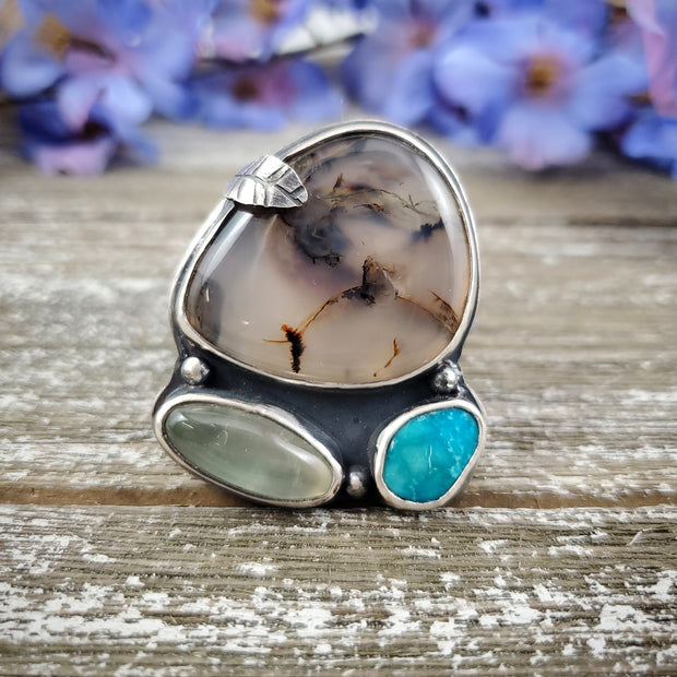 Triple Spring Ring Size 8.5 - WOOD BISON METAL