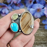 Triple Spring Ring Size 10 - WOOD BISON METAL