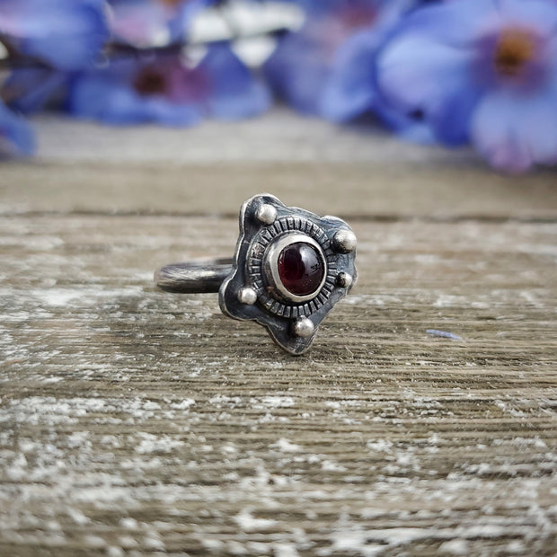 Garnet Cloud Ring Size 6 - WOOD BISON METAL