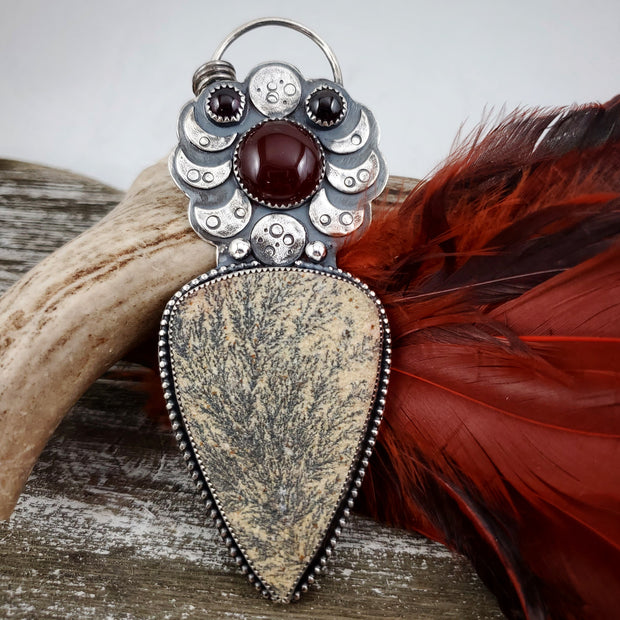 Fiery Moon Necklace #1 - WOOD BISON METAL