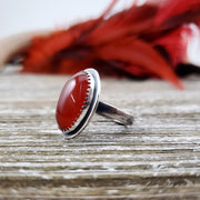 Red Moon Ring #1 Size 6.75 - WOOD BISON METAL