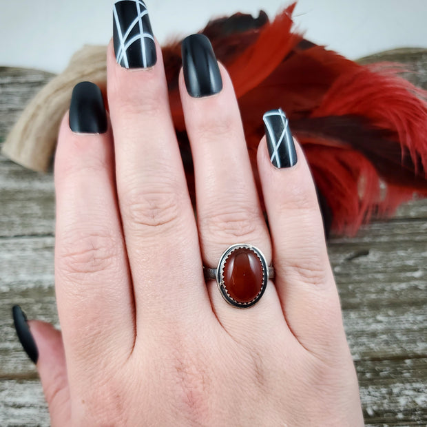 Red Moon Ring #2 Size 7.5 - WOOD BISON METAL
