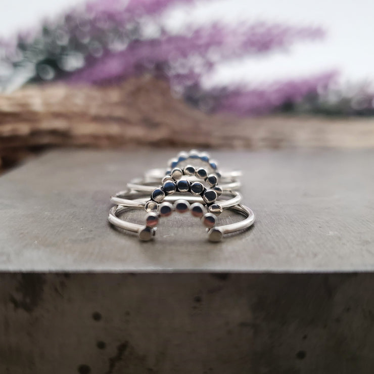 Simple Dot Midi Stacking Ring - WOOD BISON METAL