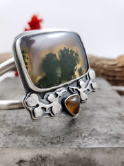 Floral Aura Rectangle Cuff - WOOD BISON METAL