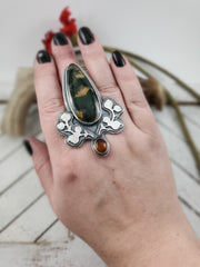Floral Aura Agate and Amber Ring - WOOD BISON METAL