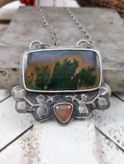 Floral Aura Rectangle Necklace - WOOD BISON METAL