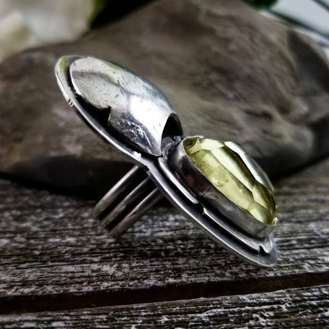 Yellow Quartz Dreamer Ring Size 6