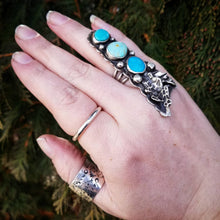 Load image into Gallery viewer, FINAL SALE ! Size 7 Triple Turquoise Ring with Leaves Sterling Statement Ring