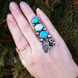 FINAL SALE ! Size 7 Triple Turquoise Ring with Leaves Sterling Statement Ring