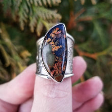 Load image into Gallery viewer, Size 9 Rare Priday Plume Doublet Ring, Stay Wild Statement Ring, Sterling Silver Stamped Ring