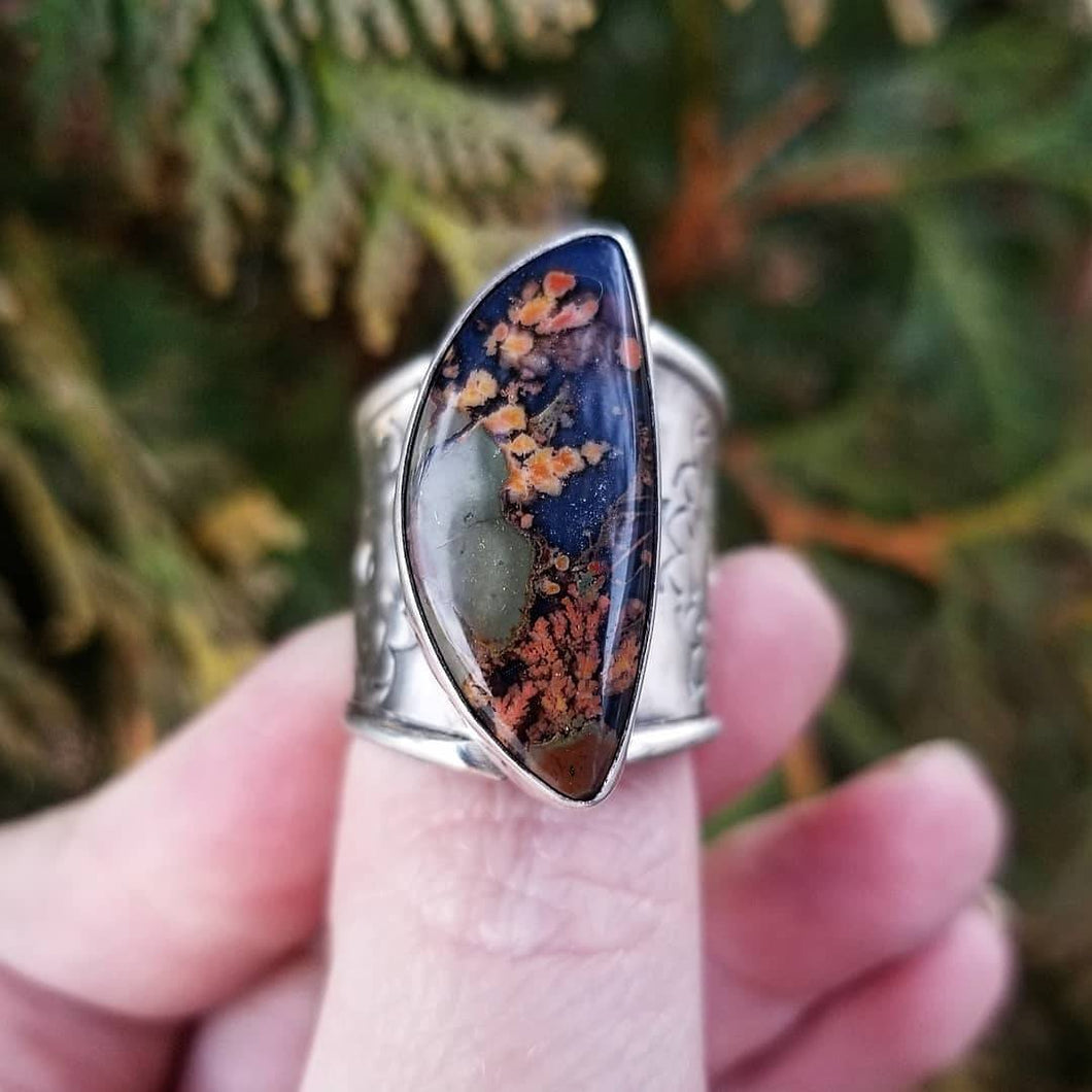 Size 9 Rare Priday Plume Doublet Ring, Stay Wild Statement Ring, Sterling Silver Stamped Ring