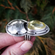 OOAK Yellow Quartz Dreamer Ring Size 6 - WOOD BISON METAL