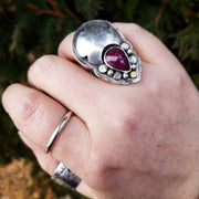 Ruby Dreamer Statement Ring Size 5.75 - WOOD BISON METAL