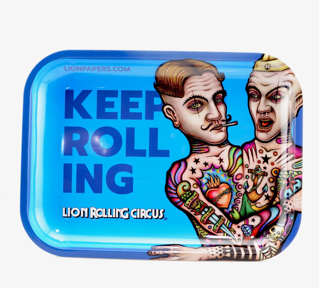 "Lion Rolling Circus ""Keep Rolling"" LARGE Rolling Trays - 9 x 12"""