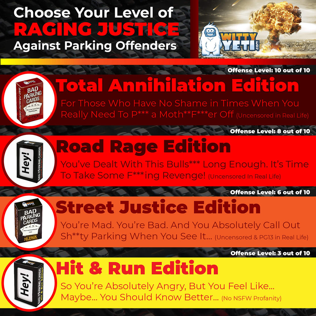 Witty Yetis Bad Parking Business Cards 10 Designs, 50 Note Pack 18+ Edition. Shame the Idiot Parkers of the World with Swift Justice. Funny Revenge for Mean Road Ragers & Morons. Fun Gag Gift & Prank.