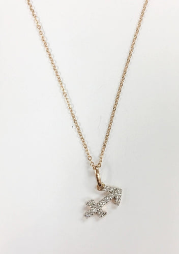 14k Gold Diamond Astrology Necklaces,