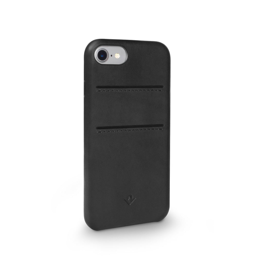 Relaxed Leather case with pockets for iPhone 7/8 - Black