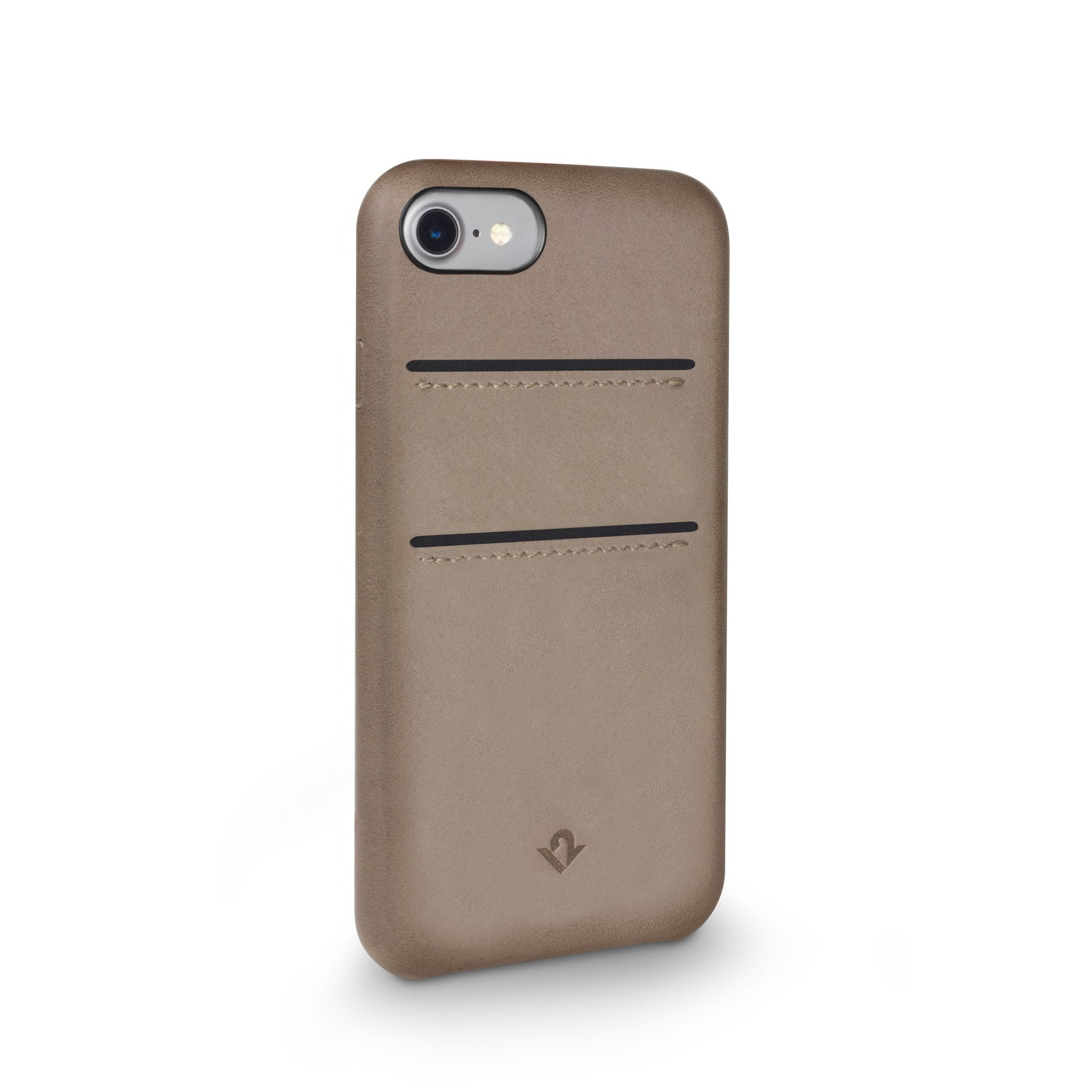 Relaxed Leather case with pockets for iPhone 7/8 - Warm Taupe