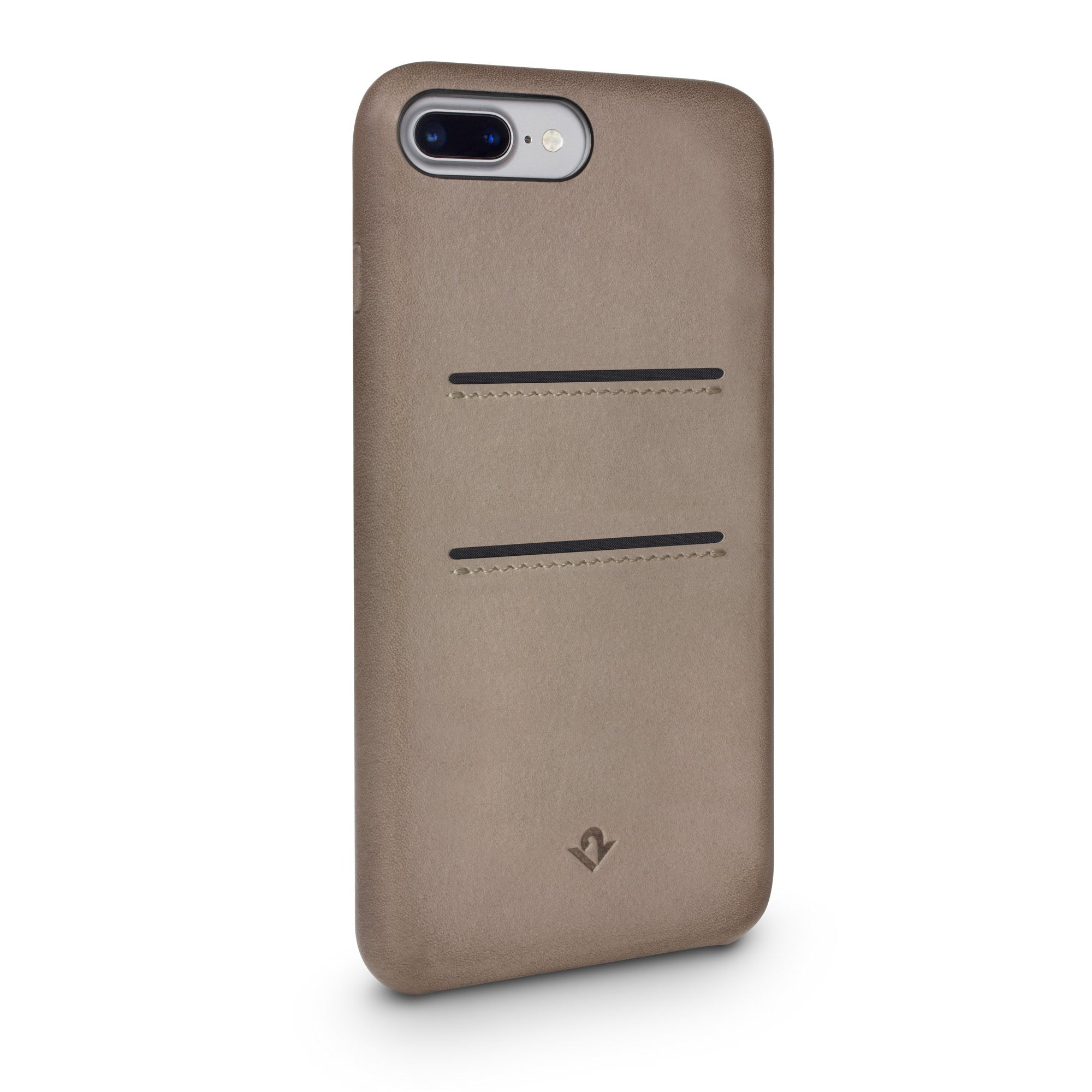 Relaxed Leather case with pockets for iPhone 7/8 Plus - Warm Taupe