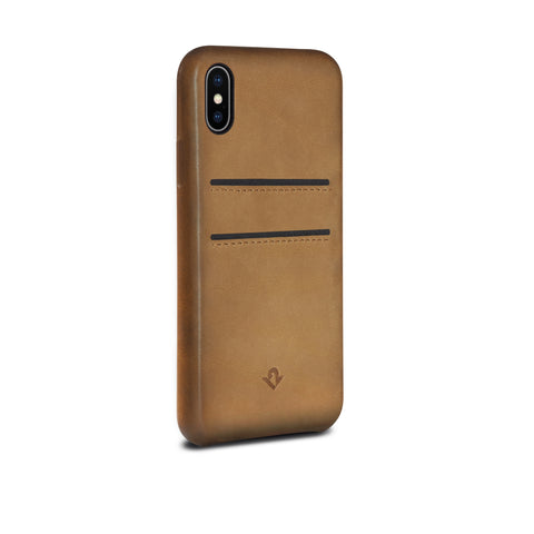 Relaxed Leather case with pockets for iPhone X - Cognac